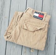 Vtg 90s Tommy Jeans Corduroy Pocketed Cargo Pants Rare Mens Size 31x32