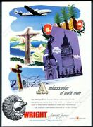 1946 Continental Airlines Plane Art Wright Aircraft Engines Vintage Print Ad