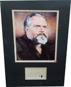 Orson Wells Autographed Index Card Framed With An 8x10 Photo Ga 857327