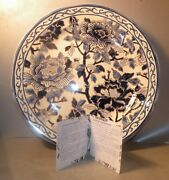 New Dinner Plate Hand Painted, Pivoines Bleues From Gien/ With Certificate