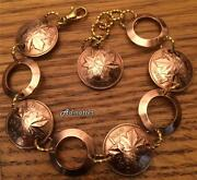 1981 Canadian Penny Bracelet 40th Birthday Anniversary Gift Gold And Copper Rings