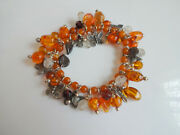Vtg Carved Natural Baltic Amber And Glass Beads Butterfly Charm Stretch Bracelet