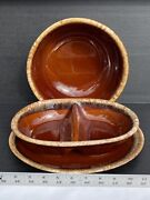 H.p. And Co. Brown Drip Glaze Oven Proof Usa Plate Casserole Bowl Platter Set