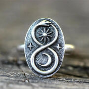 Vintage Stainless Steel Women Rings Animal Snake Moon Star Ring Jewelry Gifts Us