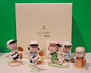 Lenox Peanuts Baseball Team 6 Piece Set Snoopy Linus Lucy New In Box With Coa