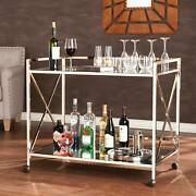 Kitchen Serving Cart W/ Rolling Casters Open Shelving Furniture Metallic Gold
