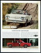 1963 Corvair Monza White Convertible Red Coupe Betty Skelton Photo Print Ad