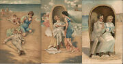 Lot Of 3 Victorian Couple At Beach Swimsuit/pinup Postcard 1c Stamp Vintage