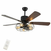 52 Modern Steampunk Unique Remote Control Ceiling Fan Light With 3 Speed Remote