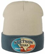 Stetson Beanie Knitted Cap Woolen Hat Logo Patch Texas Home Of Bbq New