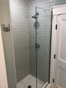 """Glass Shower Side Panel 24""""x 78"""". Tempered.3/8"""" Thickness.cut To Size If Needed."""