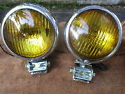 1940and039s-1950and039s 5 Inch Do-ray-500 Script Fog Lights With Bumper Mounting Brackets