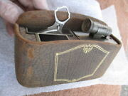 1920and039s-1930and039s Leather Bound Gold Embossed Rear Seat Vanity And Ashtray