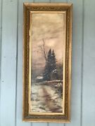 19th Century Oil Painting Andldquocabin In The Woodsandrdquo In Antique Frame 34andrdquo By 14andrdquo