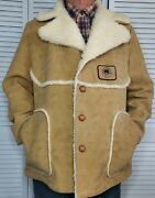 Vtg Swingster Sherpa Lined Faux Suede Washable Ranch Farm Coat Garst Seed Men Xl