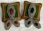 2 Rings 2 Earring Sets Marcasite Sterling Carnelian And Black Stones Thailand Sr