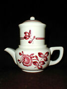 Pv France Pvf4 Red Floral French Ceramic Individual Teapot W Infuser- Rare 4pc