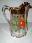 Eapg Us Glass 15145 Colonis Colonial Panel Hand Painted Floral Water Pitcher Jug