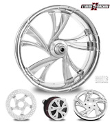 Cruise Contrast Cut Platinum 23 Front Wheel Tire Package 13 Rotor 00-07 Bagger