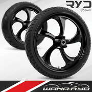 Rollin Blackline 21 Front And Rear Wheels, Tires Package Dual Rotors 09-19 Bagger