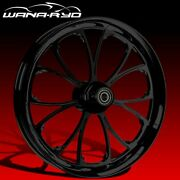 """Ryd Wheels Arc Blackline 23 X 5.0"""" Fat Front Wheel And Tire Package 00-07 Bagger"""