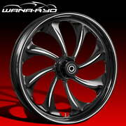 Twisted Starkline 23 Fat Front Wheel Tire Package 13 Rotor 08-19 Bagger