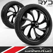 Twisted Blackline 23 Fat Front And Rear Wheels Tires Package 00-07 Bagger