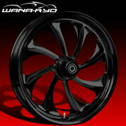 Twisted Blackline 23 Fat Front Wheel Tire Package 13 Rotor 08-19 Bagger