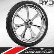 """Ryd Wheels Atomic Chrome 23 X 5.0"""" Fat Front Wheel And Tire Package 00-07 Bagger"""