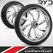 Twi235183frwtdd07bag Twisted Chrome 23 Fat Front And Rear Wheels Tires Package D