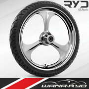 """Ryd Wheels Amp Chrome 23 X 5.0"""" Fat Front Wheel And Tire Package 00-07 Bagger"""