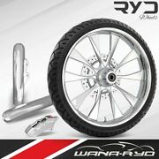 Diode Chrome 21 Fat Front Wheel Single Disk W/ Forks And Caliper 00-07 Bagger