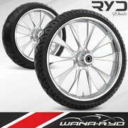 Ryd Wheels Diode Chrome 23 Fat Front And Rear Wheels Tires Package 09-19 Bagger