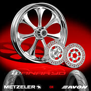 Wanaryd Atomic Chrome 21 Front Wheel Rotors Tire Package Kit 08-13 Flh