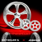 Performance Machine Wrath Chrome 21 Front Wheel, Tire And Dual Rotors