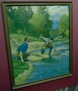 R. Atkinson Fox, Couple Fly Fishing Trout, 23.5x19.5 Framed Large Print 1930s