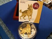 2018niue Year Of The Dog-5oz.high Reliefsilver Lunar Gilt Proof