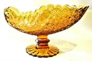 Large Vintage Amber Glass Buttons And Bows Footed Centerpiece Bowl