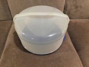 Tupperware Sheer Round Cake Taker Container With Blue Base 3062