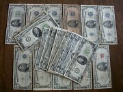 5 10 And 20 Notes - Lot Of 22 - 1928 1934 1950 1953 1963