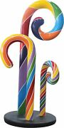 Candy Cane Swirl Rainbow Trio Over Sized Resin Prop Decor Statue