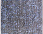 Hand Knotted Wool And Silk Rug 8and039 1 X 9and039 10 - Q8691