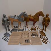 Vintage Marx Noble Knights Gold And Silver Figures W Horses And Accessories 1968 Set