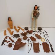Vintage Johnny West Marx Geronimo Action Figure W/ Accessories And Chief Cherokee