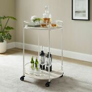 Serving Bar Cart Kitchen Dining Room Rolling Shelves Rack Modern Elegant White