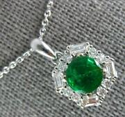 Estate 1.11ct Diamond And Aaa Emerald 18kt White Gold 3d Round And Baguette Pendant