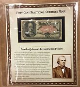50c Fractional Currency 5th Issue 1874 Pcs History Panel Plate Number On Back