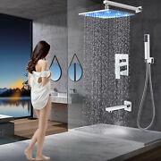 Chrome Shower Faucet Set 8 Rainfall Head Combo Kit Tub Filler With Mixer Valve