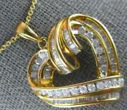 Large 2.07ct Diamond 14kt Two Tone Gold 3d Round And Baguette Heart Pendant 27259