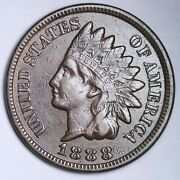 1888 Indian Head Cent Penny Choice Au+/unc Free Shipping E151 T